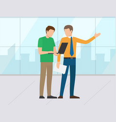 boss and assistant man company office workplace vector image