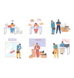 business bankruptcy set flat isolated vector image