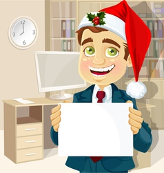 businessman in Santa Claus cap vector image