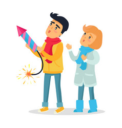 cartoon boy and girl set off firework rocket vector image