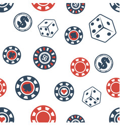 casino chips and dice gambling seamless pattern vector image