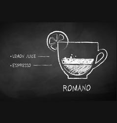 chalk drawn sketch of romano coffee vector image