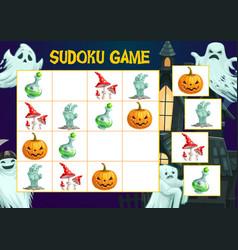 Child puzzles book page halloween sudoku game vector
