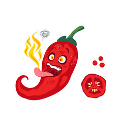 chili with fire on tongue vector image