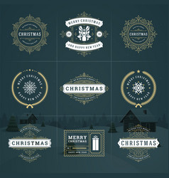 Christmas ornate labels and badges set vector