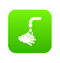 cleaning hands icon digital green vector image