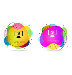 color computer monitor with dollar icon isolated vector image