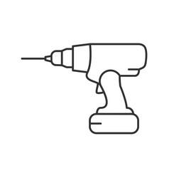Cordless drill linear icon vector