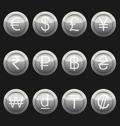 Currency coins metallic silver with highlights set vector