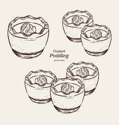 Custard pudding in glass hand draw sketch vector