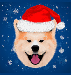 cute akita merry christmas and happy new year vector image