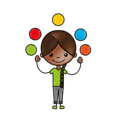 Cute girl juggling balls character icon vector