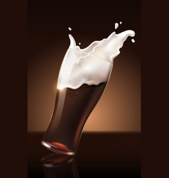 dark beer in glass cup refreshing drink with vector image