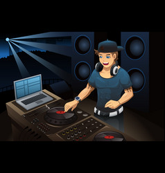 dj performing in a night club vector image
