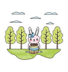 Doodle female rabbit with sweet donuts in the vector