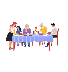 family dinner festive meal table and dishes vector image