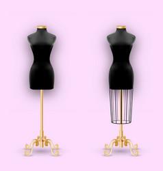 Fashion mannequin or dummies black silhouette vector