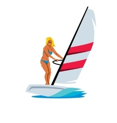 Female Windsurfing Cartoon vector image