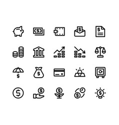Financial line icons vector
