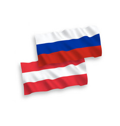 Flags austria and russia on a white background vector