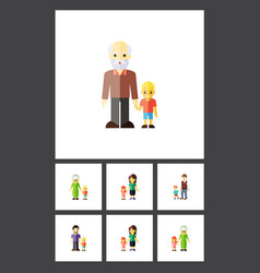 Flat icon people set of boys mother grandchild vector