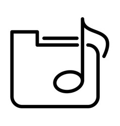 folder file music note sound line style icon vector image
