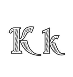 Font tattoo engraving letter K with shading vector image