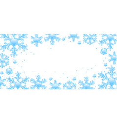 frame with crystal snowflakes vector image