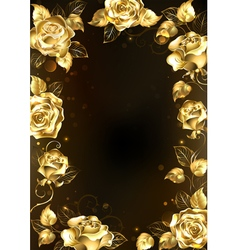 Frame with Gold Roses vector image