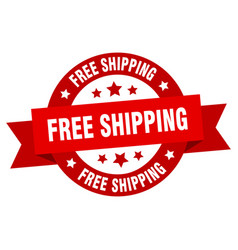 free shipping ribbon free shipping round red sign vector image