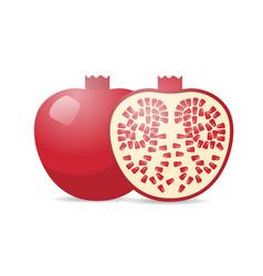 fresh juicy pomegranate icon tasty ripe fruit vector image