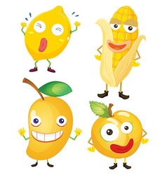 Fruits and vegetables in yellow vector image