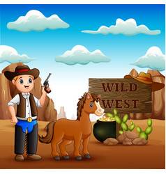 funny cowboy with horse in stony desert vector image