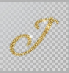 Gold glitter powder letter j in hand painted style vector