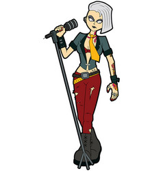 Goth woman vocalist with a microphone stand vector