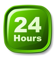 Green 24 hours button vector