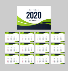 green calendar 2020 background template vector image
