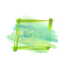 Green watercolor grunge frame vector