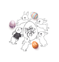 Hand drawn happy easter wish handwritten with vector