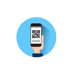 Hand hold smart phone scanning qr code icon vector