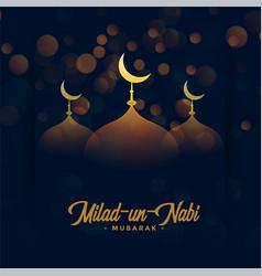 Happy milad un nabi festival card with mosque vector