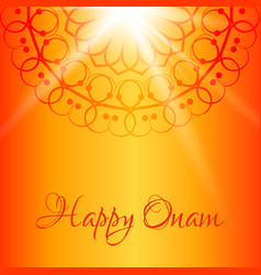 Happy onam greeting card with orange background vector