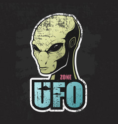 head of the alien and the zone of ufo vector image