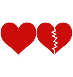 Heart and heartbreak love and parting vector