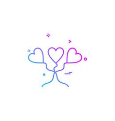heart love heart balloon icon design vector image