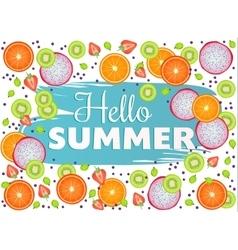 Hello summer inscription on background fruit vector