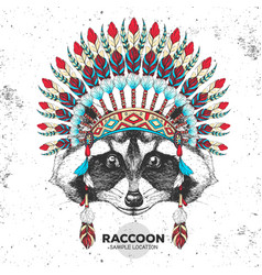 Hipster raccoon with indian feather headdress vector