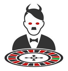 Hitler devil roulette croupier flat icon vector