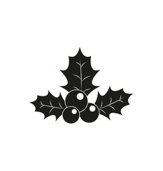 holly traditional christmas of the black icon vector image