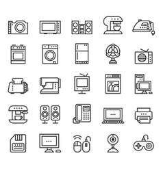 Home appliances and equipment icons modern vector image